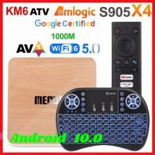 Tv box Mecool KM6 Amlogic S905X4 Android 10,0 ATV 4GB RAM 64GB ROM Deluxe 2,4/5G WiFi