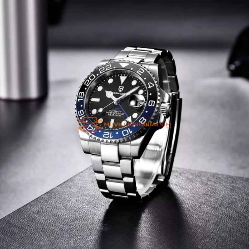 Conjunto reloj chino hombre PAGANI DESIGN pulsera mecánico de lujo de acero inoxidable, GMT, de cristal de zafiro