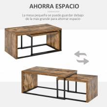 Un juego de 2 mesas de centro Mesa de centro de estilo industrial con patas de metal, apta para salón y comedor 90x48x42