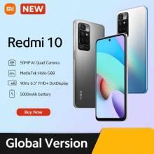 Movil chino Xiaomi Redmi 10 versión Global cámara cuádruple de 50MP, pantalla FHD de 90Hz, MediaTek Helio G88 Octa Core
