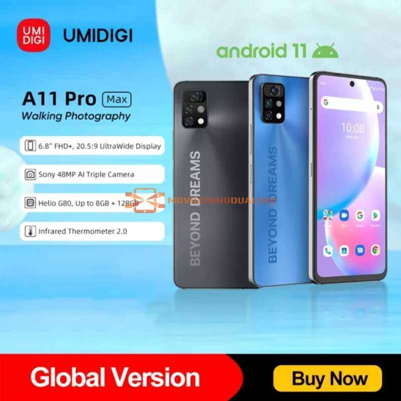 "Movil chino UMIDIGI A11 Pro Max, versión Global, pantalla FHD de 6,8"" 128GB, Helio G80, Triple Cámara ia de 48MP, 5150mAh"