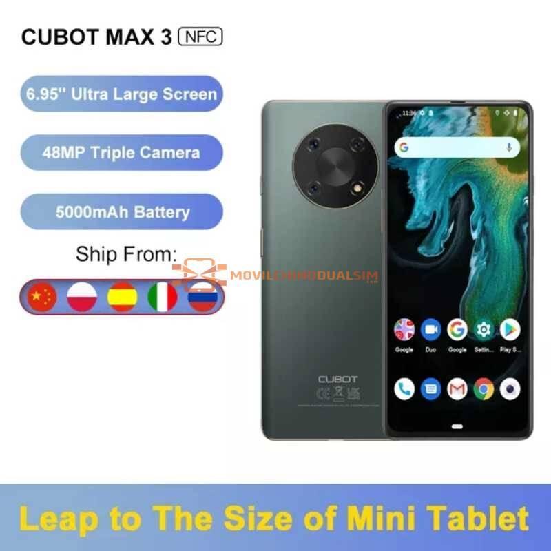 """Movil chino Cubot Max 3 pantalla 6,95"""" batería 5000mAh, 4GB de RAM y 64GB ampliable hasta 256GB,Android 11 cámara con 48MP NFC"""