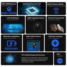 """Movil chino DOOGEE V10 Dual 5G batería de 8500mAh, cámara trasera de 48MP, pantalla táctil de 6,39"""" carga rápida, NFC"""