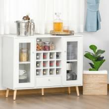 Mueble de cocina aparador buffet con botellero cajón estante abierto y 2 armarios con modernas puertas de cristal