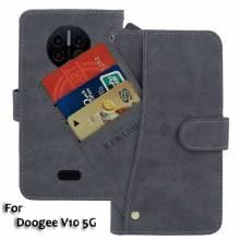 Funda de cuero PU con tapa protectora y departamento de tarjetas de credito para movil chino Doogee V10