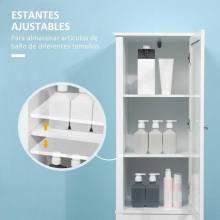 Mueble alto para baño mueble columna para baño con 1 balda regulable con puerta de cristal y 2 cajones multiusos cocina salón