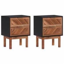 Mesita de noche 2 piezas de madera maciza de acacia MDF 40x30x53 cm