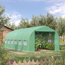 Invernadero túnel medidas 595x300x200 cm con 12 ventanas y puertas con cierre de cremallera para el cultivo de plantas verdes
