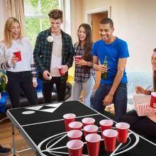 Mesa de Beer Pong de plegable para fiestas y juegos maleta portáti playa para exteriores en blanco y negro 240 x 60 x 55/70 cm